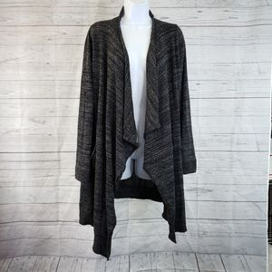 Zara Knit Open Front Cardigan Sz Large Black Gray